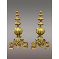 Goldene Bronze Napoleon III. Andirons