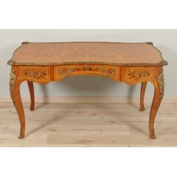 Flacher Schreibtisch mit Intarsien im Stil Louis XV