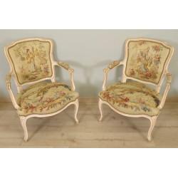 Sessel im Stil Louis XV Aubusson Wandteppich