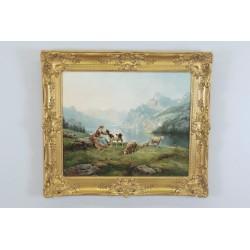Théodore Lévigne : Schäferin und Schafe in den Bergen