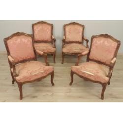 Vier Sessel mit flacher Rückenlehne im Stil Louis XV