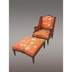 Bergére Et Repose-pieds Style Louis XVI