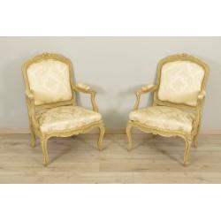 Paar Gestellsessel im Stil von Louis XV