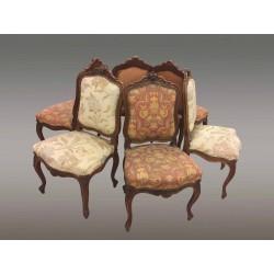 Suite von sechs Stühlen im Louis-XV-Stil