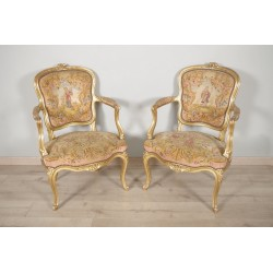 Louis XV Stil vergoldetes Holz Sessel kleiner Punkt