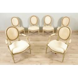 Zwei Sessel und vier Stühle gemalt Louis XVI Zeitraum
