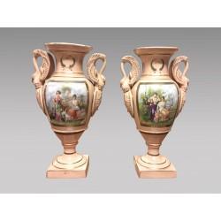 Paire De Vases En Porcelaine Style Empire