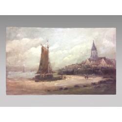Malerei am Meer in der Bretagne signiert Gilbert