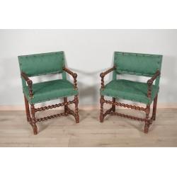 Paar Stühle mit Armlehnen Louis XIII Periode