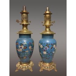 Paar Cloisonné-Lampen Napoleon III