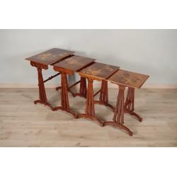 Tables gigognes Art-Nouveau signées Emile Gallé